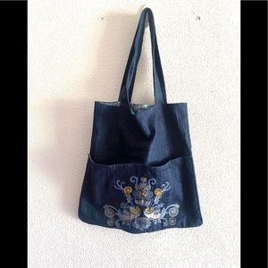 EMBROIDERED Denim organizing utility tote bag